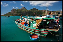 Wooden fishing boats in Ben Dam harbor. Con Dao Islands, Vietnam ( color)
