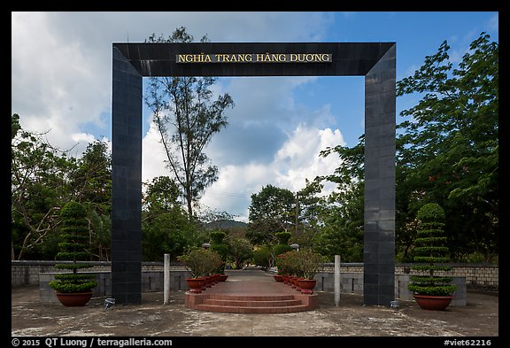 Monumental gate to Hang Duong Cemetery. Con Dao Islands, Vietnam (color)