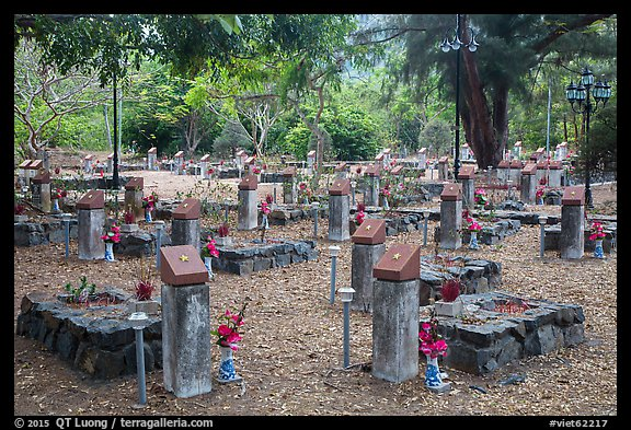 Graves memorializing independence fighters who died in jail. Con Dao Islands, Vietnam (color)
