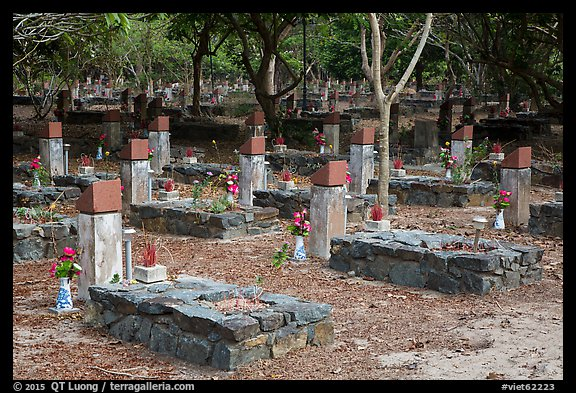 Unmarked graves, Hang Duong Cemetery. Con Dao Islands, Vietnam (color)
