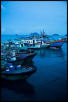 Fishing boats at dusk, Con Son. Con Dao Islands, Vietnam ( color)