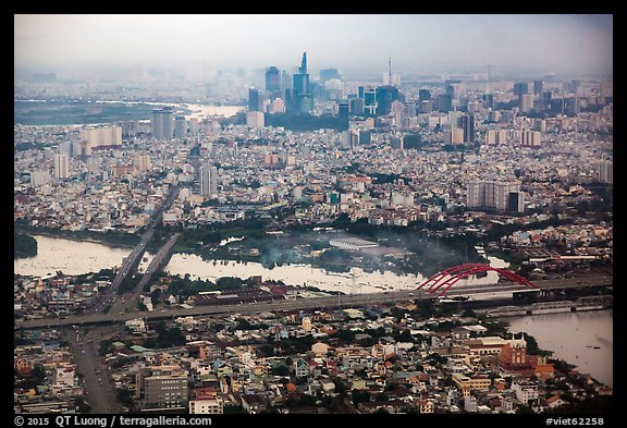 Aerial view of Saigon River and downtown. Ho Chi Minh City, Vietnam (color)