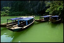 Tour boats near the entrance of Phong Nha Cave. Vietnam (color)