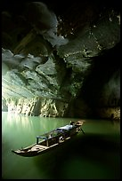 Boat inside the lower cave, Phong Nha Cave. Vietnam (color)