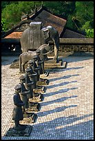 Row of statues and in Khai Dinh Mausoleum. Hue, Vietnam