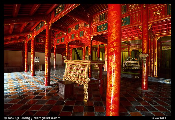 Main room of the temple inside the Minh Mang Mausoleum. Hue, Vietnam (color)