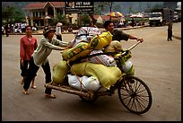 Bicyle loaded with goods at the border crossing with China at Dong Dang. Lang Son, Northest Vietnam
