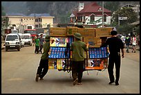 Bicyle loaded with an incredible amounts of goods from China at Dong Dang. Lang Son, Northest Vietnam (color)