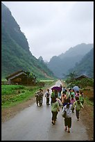 Children returning from school, Ma Phuoc Pass area. Northeast Vietnam ( color)