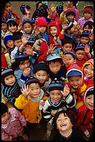 Schoolchildren dressed for the cool mountain weather. Northeast Vietnam ( color)