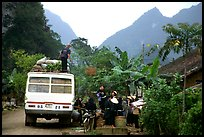 Unloading of a bus in a mountain village. Northeast Vietnam ( color)