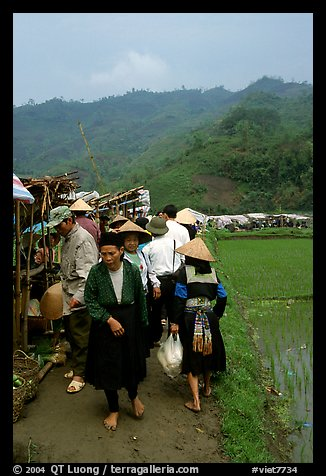 Outdoor Market set in the fields near Ba Be Lake. Northeast Vietnam (color)