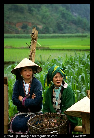 Hilltribeswomen with traditional necklace. Northeast Vietnam (color)