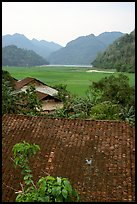 Thatched Roofs of Pac Ngoi village and fields. Northeast Vietnam