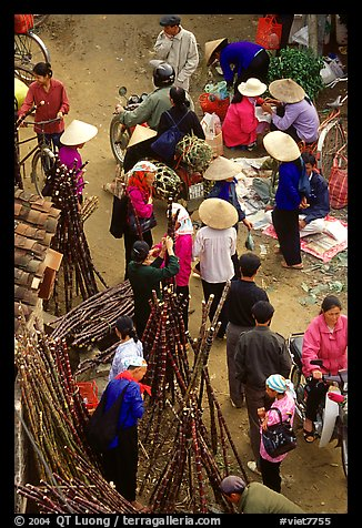 Cane sugar stand seen from above, Cho Ra Market. Northeast Vietnam (color)