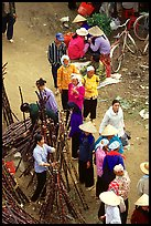 Cane sugar stand seen from above, Cho Ra Market. Northeast Vietnam ( color)