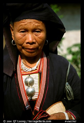 Elderly tribewoman, near Mai Chau. Vietnam (color)