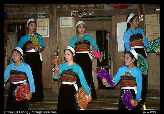 Thai women performing a dance, Ban Lac, Mai Chau. Northwest Vietnam (color)