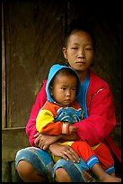 Hmong woman and boy, Xa Linh village. Northwest Vietnam ( color)