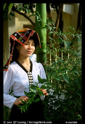 Young Thai woman in traditional dress, Son La. Vietnam (color)