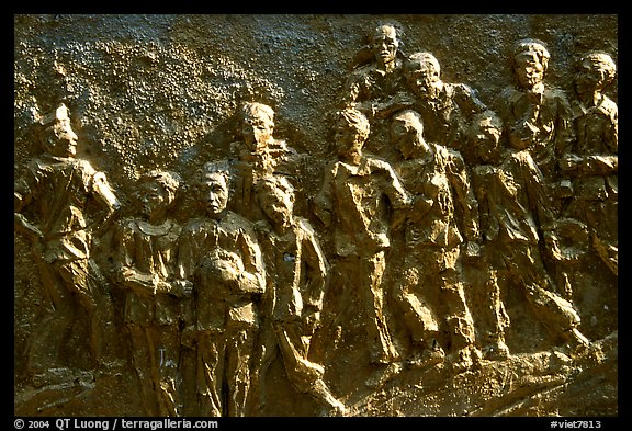 Bas relief celebrating the victims of the French rule, Son La. Northwest Vietnam (color)