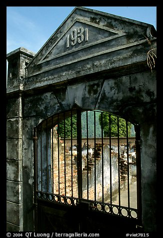 Door of the colonial jail where many political opponents were imprisoned, Son La. Northwest Vietnam (color)