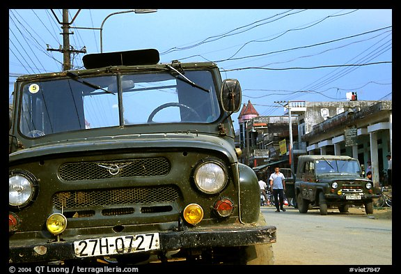 Russian Jeeps, Tam Duong. Northwest Vietnam (color)