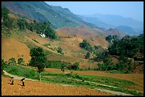 Two montagnards walking down a field, between Tuan Giao and Lai Chau. Northwest Vietnam
