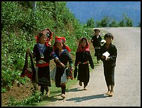 Hmong kids returning from school, near Lai Chau. Northwest Vietnam ( color)