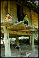 Two children in a stilt house, between Lai Chau and Tam Duong. Northwest Vietnam ( color)