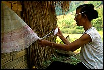 Woman sewing a net, between Lai Chau and Tam Duong. Northwest Vietnam ( color)