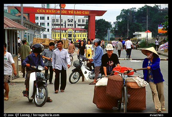 Border crossing with China at Lao Cai. Vietnam (color)
