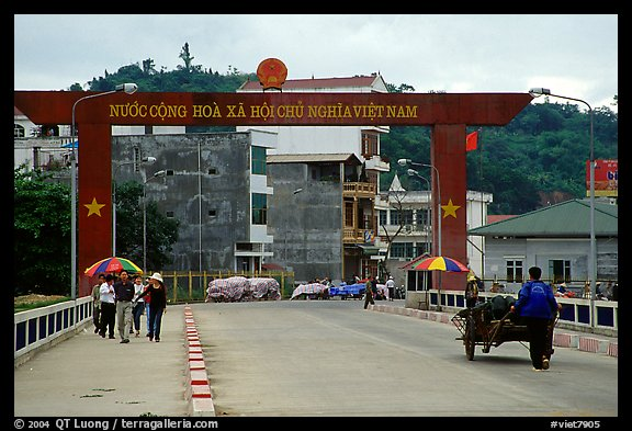 The Vietnamese side of the border crossing at Lao Cai. Vietnam (color)