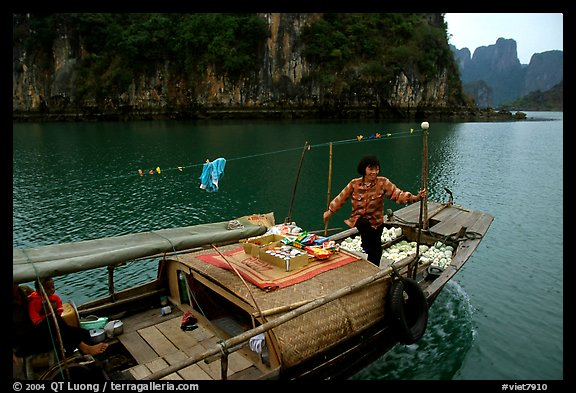 Peddling from a boat. Halong Bay, Vietnam (color)