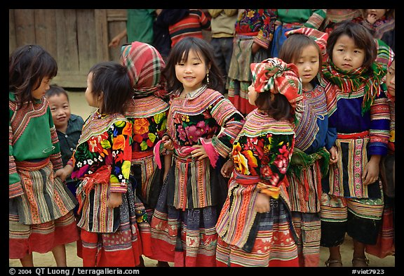 Flower Hmong schoolchildren. Bac Ha, Vietnam (color)