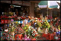 Flowers for sale outside the Ben Than Market. Ho Chi Minh City, Vietnam (color)