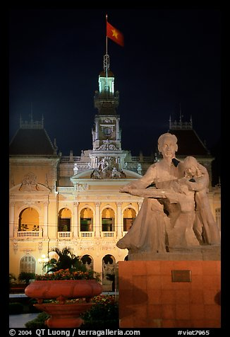 City townhall and Ho Chi Minh sculpture. Ho Chi Minh City, Vietnam (color)
