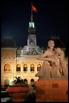 City townhall and Ho Chi Minh sculpture. Ho Chi Minh City, Vietnam