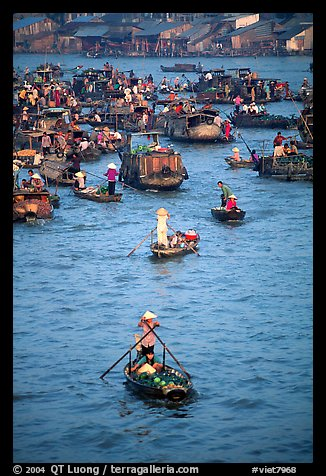 Boats at the Cai Rang floating market. Can Tho, Vietnam (color)