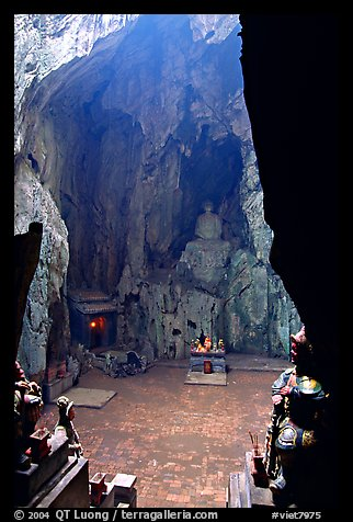 Troglodyte sanctuary in the Marble Mountains. Da Nang, Vietnam (color)
