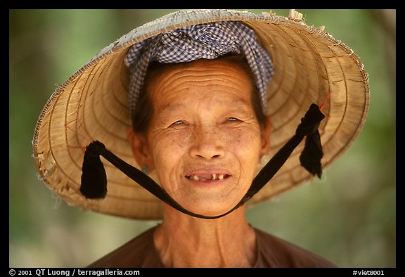 Villager with conical hat, Ben Tre. Vietnam (color)