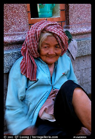 Elderly woman. Chau Doc, Vietnam (color)