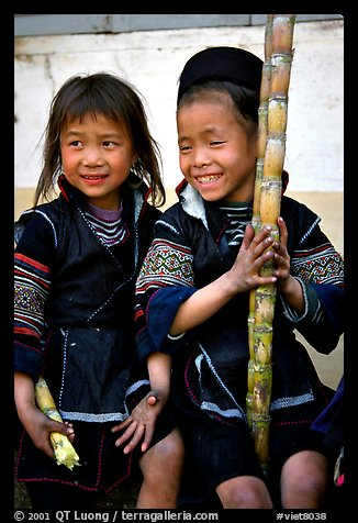 Black Hmong girls, with their daily fix of sugar cane, Sapa. Vietnam (color)