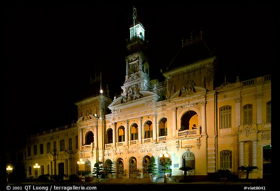 The old Hotel de Ville, one of finest examples of French colonial architecture. Ho Chi Minh City, Vietnam (color)
