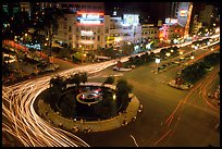 Intersection of Le Loi and Nguyen Hue boulevards at night. Ho Chi Minh City, Vietnam