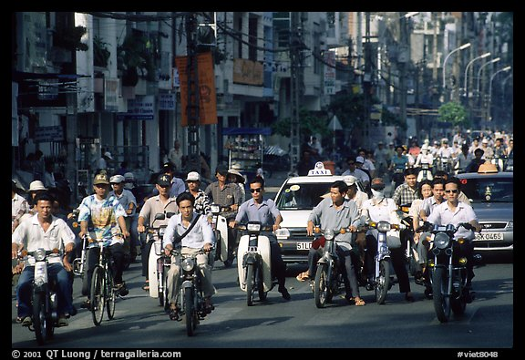 Traffic: there are 2 million motorcycles and the number of cars is growing everyday. Ho Chi Minh City, Vietnam (color)