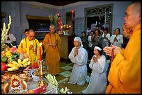 Buddhist funeral ceremony. White is color for mourning, Xa Loi pagoda, district 3. Ho Chi Minh City, Vietnam (color)