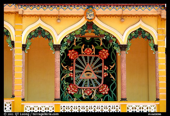 Cao Dai eye, detail of the great temple. Tay Ninh, Vietnam (color)