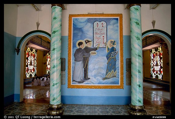 Cao Dai saints: Chinese revolutionary leader Sen, French poet Hugo, and vietnamese poet Nguyen Binh Khiem. Tay Ninh, Vietnam (color)