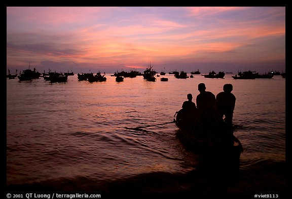 Fishing boat fleet at sunset. Vung Tau, Vietnam (color)
